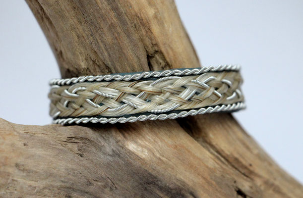 Pferdehaararmband aus Rentierleder, Zinndraht, Schweifhaar, 020-B30-H-d-X,75,-