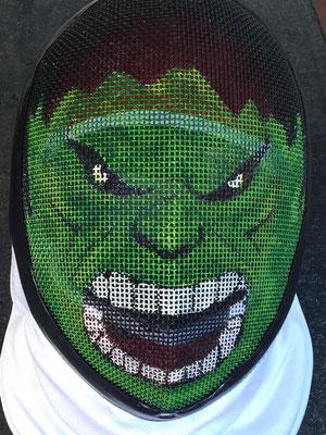 Careta personalizada (Hulk) para Gaspar, esta careta voló a Chile