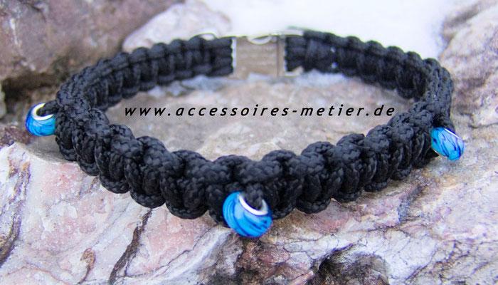 Halsband geflochten schwarz mit Perlen