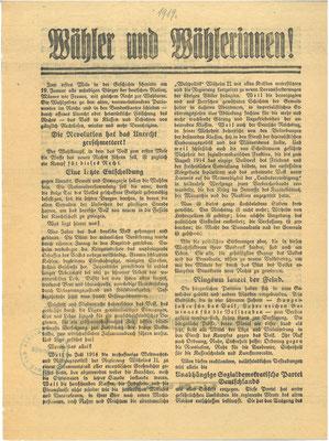 Wahl zur verfassunggebenden Nationalversammlung, 19. Januar 1919: Flugblatt der Unabhängigen Sozialdemokratischen Partei Deutschlands (USPD). StA Göttingen