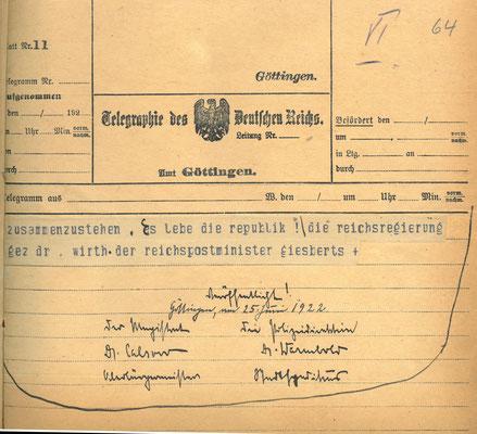 Telegramm der Reichsregierung vom 24. Juni 1922 anlässlich der Ermordung Walter Rathenaus, S. 6. StA Göttingen