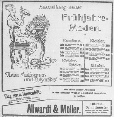 Göttinger Zeitung, 08.04.1919: Anzeige Frühjahrsmoden. StA Göttingen