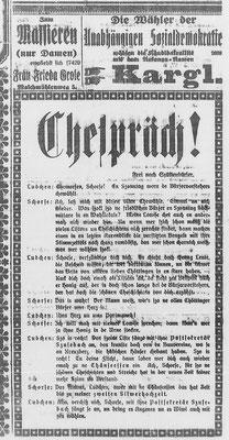 Göttinger Zeitung, 03.03.1919: Formal handet es sich bei dem Artikel um eine Satire im Göttinger Plattdeutsch. Inhaltlich ist es eine Wahlwerbung für die Liste Susebach (=DNVP). StA Göttingen