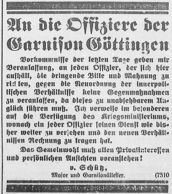 Göttinger Zeitung, 14.11.1918. Garnisonsältester: Aufruf an die Offiziere. StA Göttingen