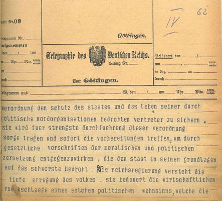 Telegramm der Reichsregierung vom 24. Juni 1922 anlässlich der Ermordung Walter Rathenaus, S. 4. StA Göttingen