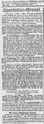Göttinger Tageblatt, 8. März 1919: Spartakusgreuel – Falschmeldung über Morde durch linke Aufständische während der Märzkämpfe in Berlin. StA Göttingen