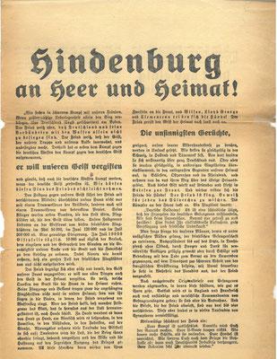 Flugblatt 2. September 1918, Hindenburg an Heer und Heimat: Dieser Aufruf steht in einem krassen Gegensatz zur tatsächlichen militärischen Lage.  StA Göttingen