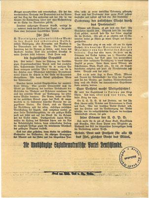Wahl zur verfassunggebenden Nationalversammlung, 19. Januar 1919: Flugblatt der Unabhängigen Sozialdemokratischen Partei Deutschlands (USPD), Rückseite. StA Göttingen