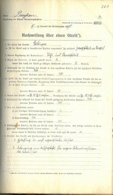 Polizeidirektion: Nachweisung über einen Streik, 17. Oktober 1919. Am Streik in der Tuch- und Flanellfabrik, Zweigstelle Rosdorf, beteiligen sich 400 Streikende. StA Göttingen