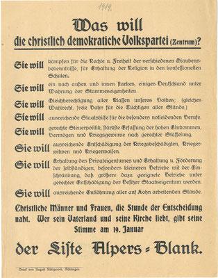 Wahl zur verfassunggebenden Nationalversammlung, 19. Januar 1919: Flugblatt des der Deutschen Zentrumspartei. StA Göttingen