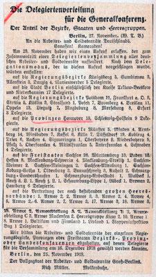 Vollzugsrat Berlin, 27.11.1918: Delegiertenverteilung für Generalkonferenz. Nachlass Otto Deneke, UAG.