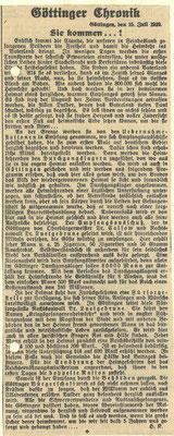 """Göttinger Tageblatt,  15. Juli 1919: """"Sie kommen"""". Ankunft des ersten Transports mit Kriegsgefangenen. Stadtarchiv Göttingen"""