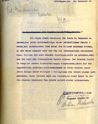 An das Personal der Großwäscherei Schneeweiß, 18. November 1919: Theodor Stichnoth, der Besitzer der Wäscherei, versuchte die Streikenden einzuschüchtern. Die Wäscherinnen streikten für höheren Lohn, der Streik dauert bis zum 30. Dezember. StA Göttingen