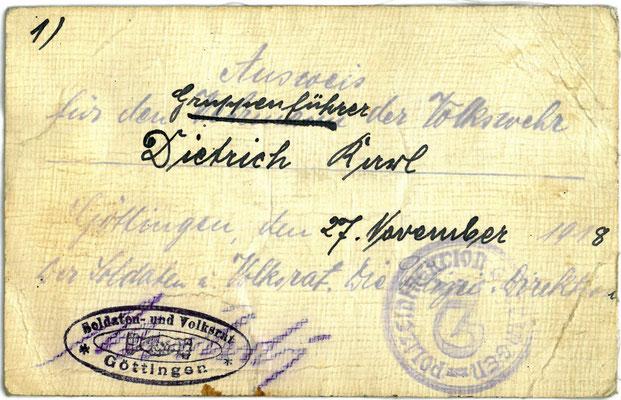 Ausweis des Volkswehr-Gruppenführers Karl Diedrich, 27.11.1918. StA Göttingen