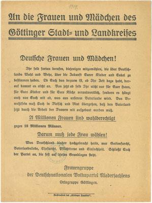 Flugzettel der Göttinger Frauengruppe der DNVP zur Wahl der Nationalversammlung am 19.1.1919. StA Göttingen