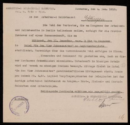 Arbeiter- und Soldatenrat Hannover, 04.12.1918: Ort und Zeit der Delegiertenwahl. Nachlass Otto Deneke, UAG.
