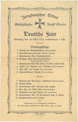 """Flugblatt, 14. Mai 1922 """"Jungdeutscher Orden"""": Deutsche Feier des Bezirks Garte. StA Göttingen"""