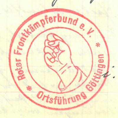 """Stempelabdruck des """"Roten Frontkämpferbundes"""" Göttingen. StA Göttingen"""