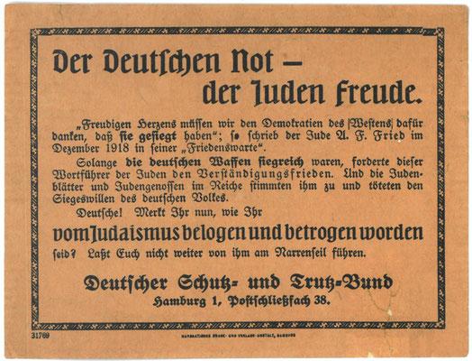 Flugblatt, nach Februar 1919: Deutscher Schutz- und Trutzbund: Der Deutschen Not – der Juden Freude. StA Göttingen