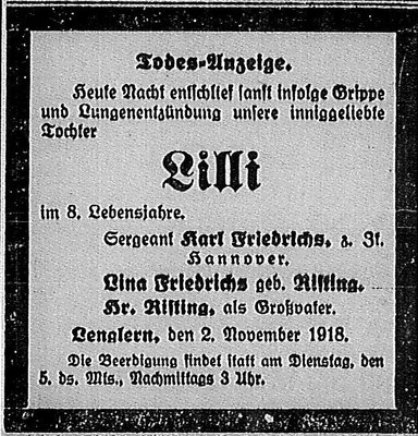 Göttinger Zeitung, 3. November 1918. StA Göttingen