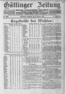 Göttinger Zeitung, 21.01.1919: Wahlergebnisse für Stadt und Landkreis. StA Göttingen
