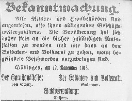 Göttinger Zeitung, 13.11.1918: Weiterführen der Behörden-Geschäfte. StA Göttingen