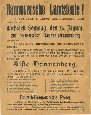 Wahl zur preußischen verfassunggebenden Landesversammlung, 26.01.1919: Flugblatt der Deutsch-Hannoversche Partei (DHP). StA Göttingen