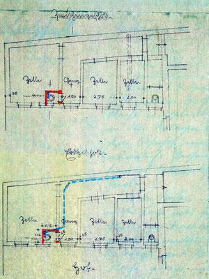 Bauplan: Zellentrakte des Polizeigefängnisses, ca. 1925. Foto: StA Göttingen