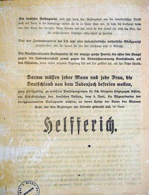 Reichstagswahl,  6. Juni 1920: Flugblatt der DNVP - Rückseite. StA Göttingen