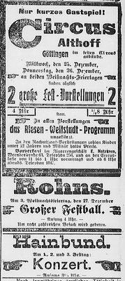Göttinger Zeitung:  Anzeige für die Weihnachtsfeiertage 1918: Circus Althoff, Festball im Rohns, Konzert des Hainbunds. StA Göttingen