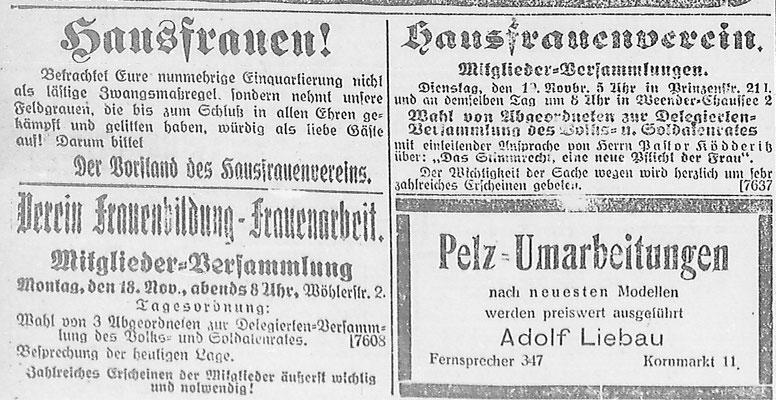 Göttinger Zeitung, 20.11.1918: Auch zwei Frauenvereine beteiligt sich an den Delegiertenwahlen. StA Göttingen