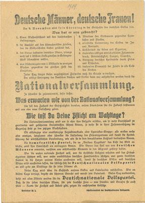 Wahl zur verfassunggebenden Nationalversammlung, 19. Januar 1919: Flugblatt der Deutschnationalen Volkspartei (DNVP). StA Göttingen