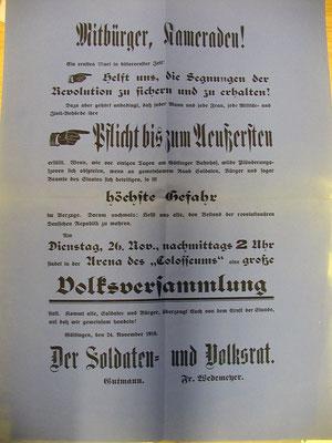 Soldaten- und Volksrat: Aufruf zu Ruhe und Ordnung (Plünderung), 24.11.1918. StA Göttingen
