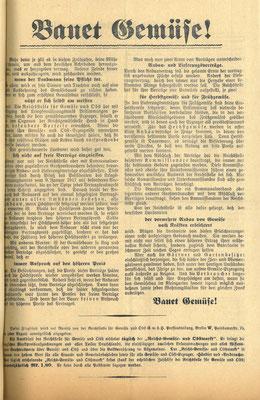 Merkblatt der Reichsstelle für Gemüse und Obst, März 1917. Während des Krieges sterben in Deutschland rund 700.000 Zivilisten an den Folgen der Unterernährung.  StA Göttingen