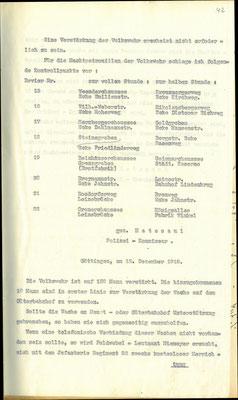 Bericht der Polizeidirektion, 12.12. 1918 Bericht der Polizei über die Volkswehr: Nachtpatrouillen. StA Göttingen