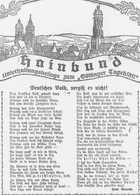 """Göttinger Tageblatt, 23. März 1920: Paul Warncke propagiert die """"Dolchstoßlüge"""" in Form eines Gedichts. StA Göttingen"""