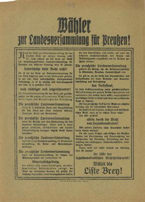 Wahl zur preußischen verfassunggebenden Landesversammlung 26.01.1919: Flugblatt der Sozialdemokratischen Partei Deutschlands (SPD). StA Göttingen