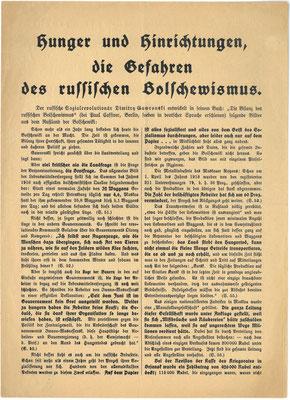 """Flugblatt Herbst 1918: SPD gegen die Russische Revolution. Friedrich Ebert gegenüber Prinz Max von Baden: """"Wenn der Kaiser nicht abdankt, dann ist die soziale Revolution unvermeidlich. Ich aber will sie nicht, ja ich hasse sie wie die Sünde."""" StA Gö"""