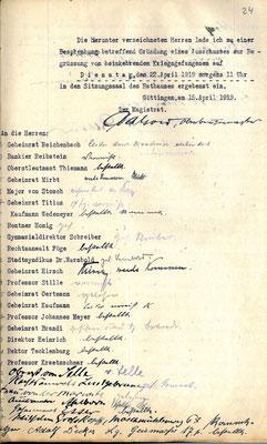 Mitglieder des Empfangsausschusses,  15. April 1919. StA Göttingen