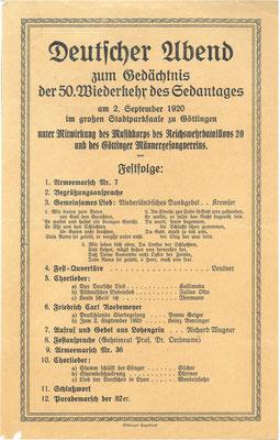 Ankündigung: Deutscher Abend zum Gedächtnis der 50. Wiederkehr des Sedantages. Am 2. September 1870 kapitulierte die französische Armee nach der Schlacht von Sedan, dem entscheidenden Sieg im Deutsch-Französischen Krieg. StA  Göttingen