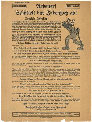 Flugblatt, nach Oktober 1919: Deutschvölkischer Schutz-und Trutzbund: Arbeiter! Schüttelt das Judenjoch ab! StA Göttingen