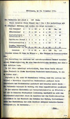 Bericht der Polizeidirektion, 12.12. 1918 Bericht der Polizei über die Volkswehr: Stärke, Einsatzzeiten und -orte. StA Göttingen