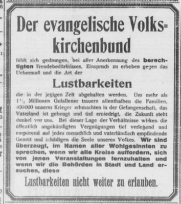 Göttinger Zeitung, 23.02.1919:  Anzeige des Evangelischen Volkskirchenbundes gegen Lustbarkeiten. StA Göttingen