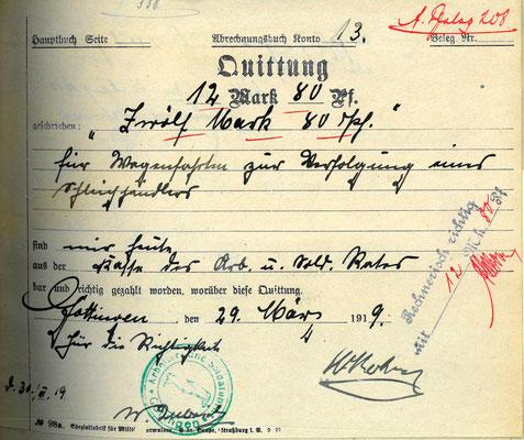 Quittung für eine Wagenfahrten zur Verfolgung eines Schleichhändlers, 29.02.1919. StA Göttingen