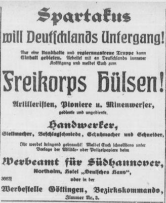 Göttinger Zeitung,  16. März 1919: Werbung für das Freikorps Hülsen. StA Göttingen