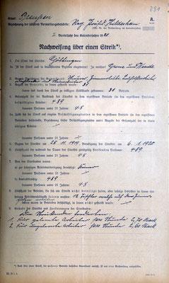 Polizeidirektion: Nachweisung über einen Streik, 28. Januar 1920. 489 Streikende nehmen an dem Ausstand im Baugewerbe zwischen dem 28. November 1919 und dem 6. Januar 1920 teil. StA Göttingen