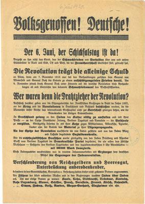 """Wahlwerbung der DNVP zur Reichstagswahl am 6. Juni 1920. Als angebliche Drahtzieher der Revolution wurden """"jüdische Sozialdemokraten"""" ausgemacht. Diese sollen für das """"Schmachdokument des Waffenstillstandes"""" verantwortlich sein. StA Göttingen"""