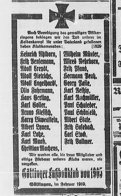 Göttinger Zeitung, 6. Februar 1919. Die Todesanzeigen sind in den Zeitungen noch die ganze erste Jahreshälfte 1919 zu finden. StA Göttingen