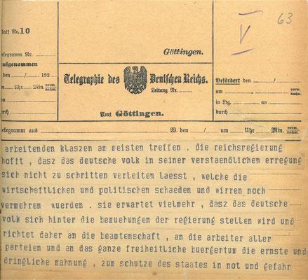 Telegramm der Reichsregierung vom 24. Juni 1922 anlässlich der Ermordung Walter Rathenaus, S. 5. StA Göttingen