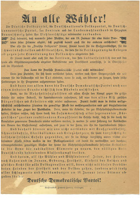 Wahl zur verfassunggebenden Nationalversammlung 19. Januar 1919 Flugblatt der Deutschen Demokratischen Partei (DDP). StA Göttingen